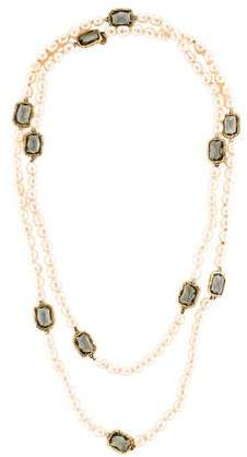 Chanel Faux Pearl Chicklet Necklacec