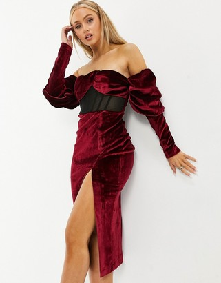ASOS DESIGN drape super sleeve velvet boned mesh insert midi dress in oxblood