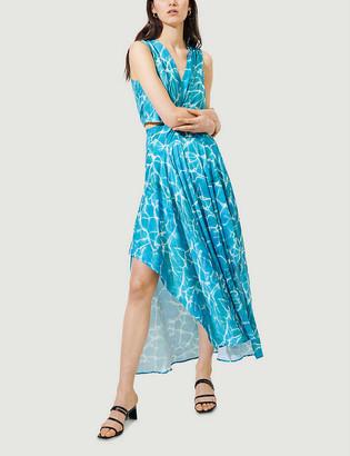 Maje Graphic-print crepe midi dress
