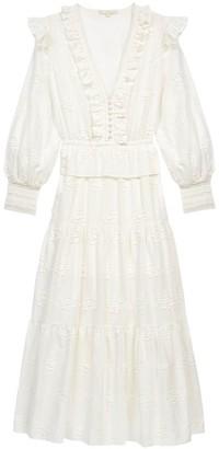 Maje Roxana Embroidered Midi Dress