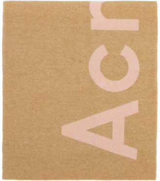 Acne Studios Pink and Beige Logo Scarf