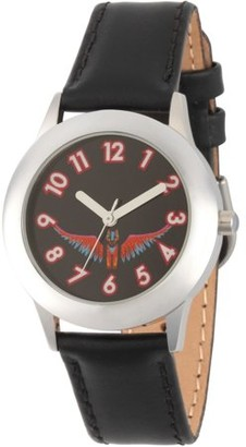 Disney Coco Girls' Stainless Steel Watch, Black Leather Strap
