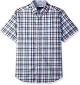 Nautica Men's Wrinkle Resistant Short Sleeve Plaid Button Down Shirt