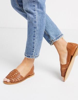 ASOS DESIGN Florentine woven leather sandal in tan