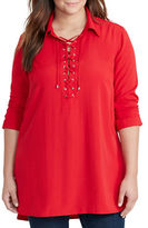 Lauren Ralph Lauren Plus Lace-Up Crepe Tunic