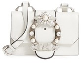 Miu Miu Madras Crystal Embellished Leather Shoulder Bag - Ivory