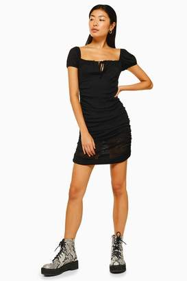 Topshop Womens Black Prairie Gypsy Mesh Ruched Mini Dress - Black