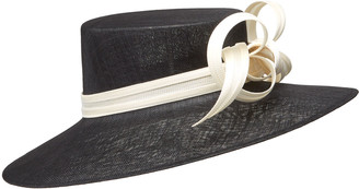 Philip Treacy Formal Large Brim Hat w/ Contrast Buntal Bows