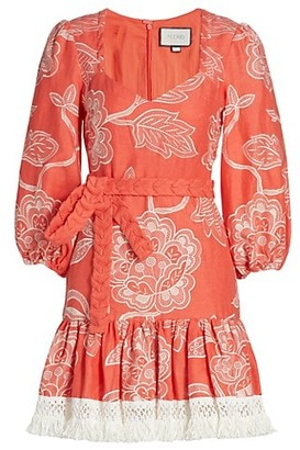Alexis Claribel Floral Embroidered Flounce Dress