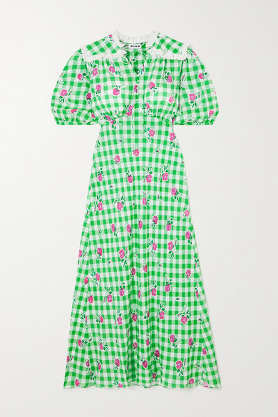 Thumbnail for your product : Rixo Gwen Gingham Floral-print Crepe Midi Dress - Green