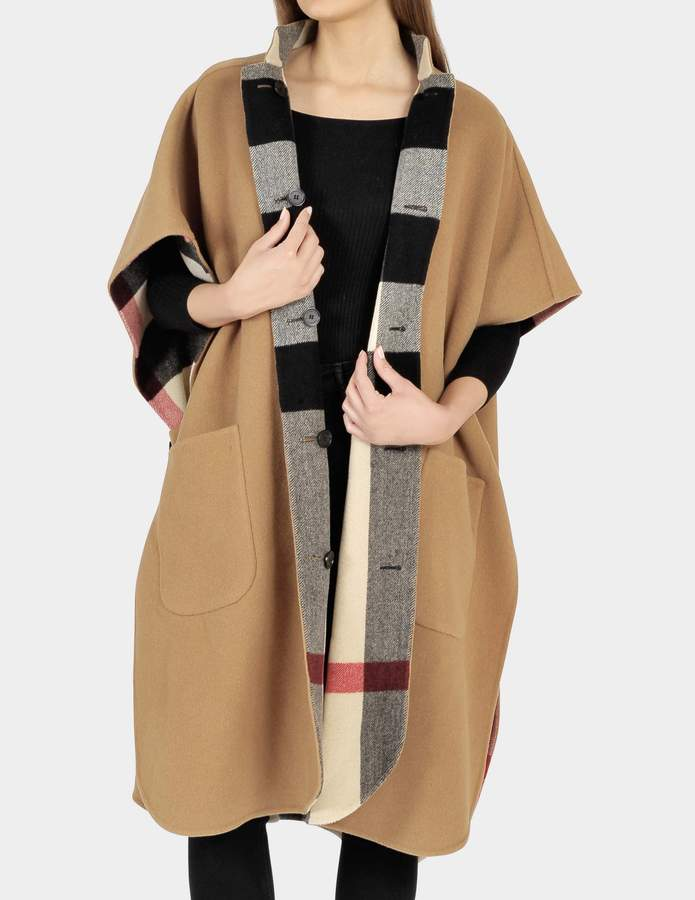 Burberry Reversible Solid To Check Poncho Scarf in Camel Wool
