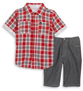 Calvin Klein Jeans Boys 2-7 Boys Plaid Sportshirt and Shorts Set