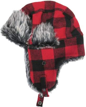 London Fog Buffalo Checked Faux Fur-Trim Trapper Hat