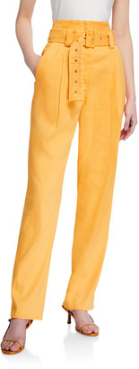 Sally LaPointe Stretch Linen Corseted Pants w/ Belt
