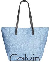 Calvin Klein Large Nylon Logo Tote with Pouch
