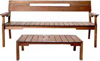 Alaterre Otero Eucalyptus Wood Outdoor Conversation Seating Set With 3-Seat Bench And Coffee Table