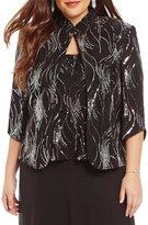 Alex Evenings Plus Sequin Mandarin Collar Twinset