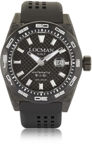 Locman Stealth 300 mt Automatic Black Carbon Fiber and Titanium Case w/ Silicone Strap Men's Watch