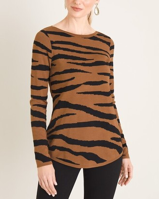 Chico's Textured Tiger-Stripe Bateau-Neck Sweater