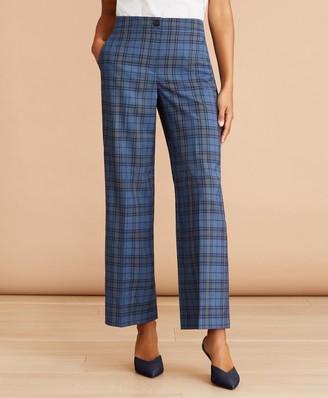 Brooks Brothers Tartan Wool Cropped Wide-Leg Pants