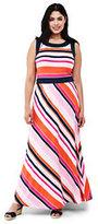 Lands' End Women's Plus Size Sleeveless Knit Maxi Dress-Pink Breeze Stripe