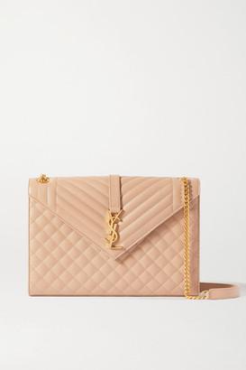Saint Laurent Envelope Large Quilted Textured-leather Shoulder Bag - Beige