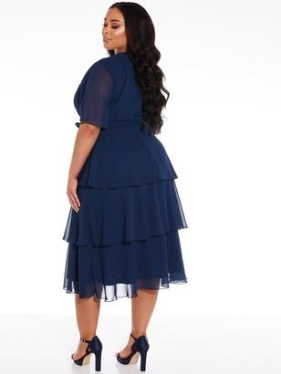 Quiz Curve Chiffon Tiered Midi Dress - Navy