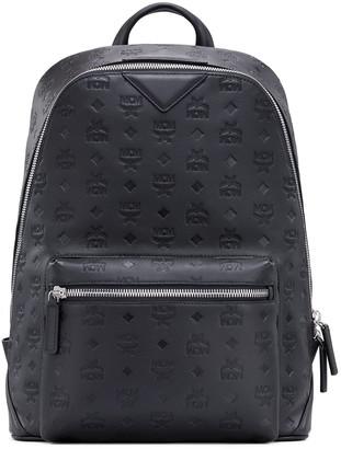 MCM Duke Embossed Leather Backpack