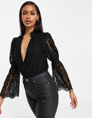 Saint Genies plunge front lace sleeve body in black