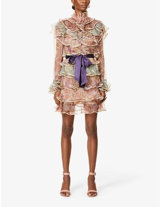 Zimmermann Lucky floral-print tiered silk mini dress