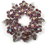 Avalaya Lavender Crystal Wreath Brooch (Silver Tone Metal)