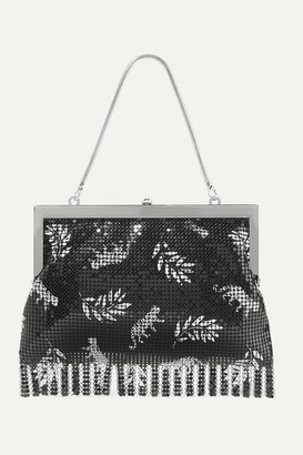 HVN Zoe Fringed Printed Chainmail Tote - Black