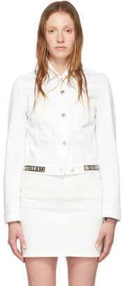 Stella McCartney White Denim Cropped Logo Band Jacket