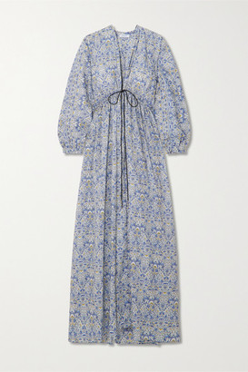 NACKIYÉ L'orient Tie-front Printed Cotton-poplin Maxi Dress - Light blue