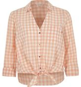 River Island Womens Orange gingham print tie front cropped shirt