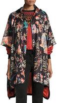Etro Tiger & Floral Print Raincoat, Black