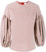 Rosie Assoulin gingham puff sleeve top - women - Cotton/Spandex/Elastane/Silk - XS