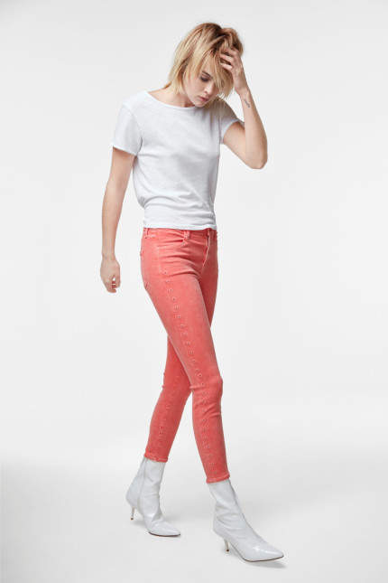 J Brand Alana High-Rise Cropped Super Skinny In Grapefruit Eyelets