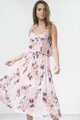 Little Mistress Urban Touch Coral Floral Print Pleated Cami Midi Dress