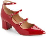 Tahari Flag Red Rebecca Block Heel Pumps