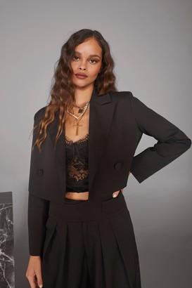 Nasty Gal Womens Woman's World Cropped Blazer - Black - 4