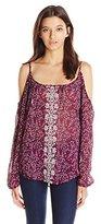 Jolt Women's Printed Long Sleeve Cold Shoulder Top