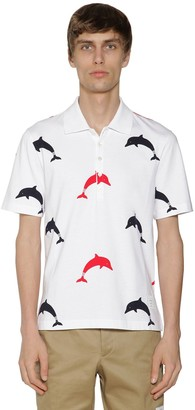 Thom Browne DOLPHINS PRINT COTTON JERSEY POLO