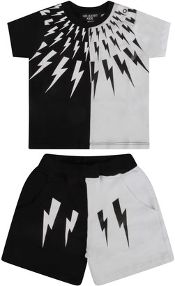 Neil Barrett Black And White Suit For Baby Boy With Iconic Bolt