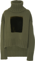 Sally LaPointe Cashmere Wool Velvet Patch Pullover