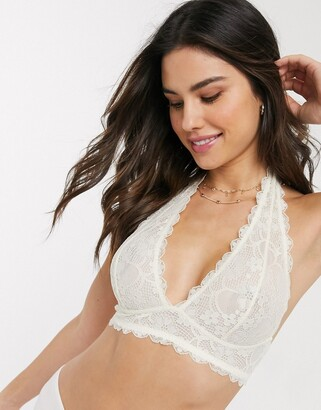 Free People galloon lace halterneck bra in ivory-White