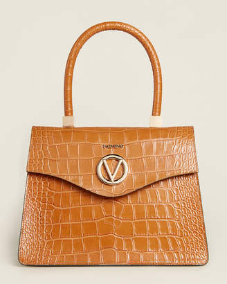 Mario Valentino Valentino By Melanie Caramel Croc-Embossed Leather Satchel