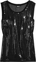 Sequined stretch-georgette top