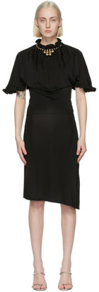 Paco Rabanne Black Ruffle Neck Midi Dress