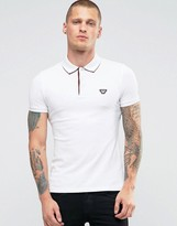 Armani Jeans Polo Shirt With Back Collar Print In White Slim Fit
